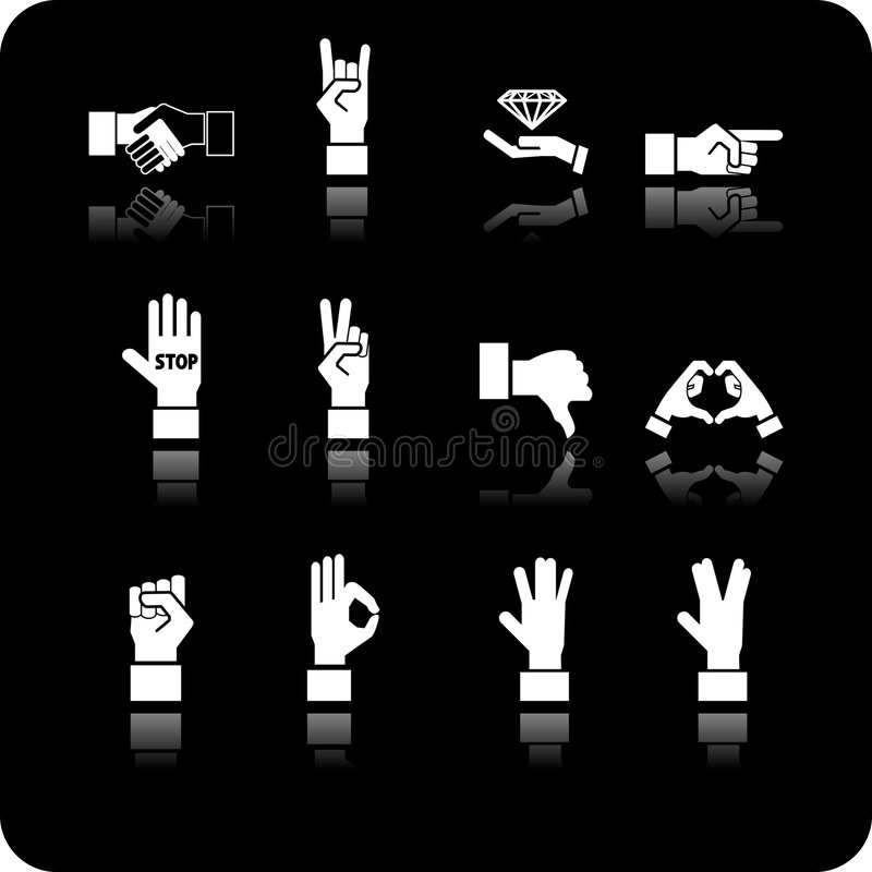 Conjunto del icono de los elementos de la mano stock de ilustración