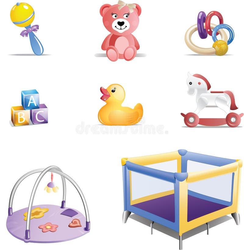 Conjunto del icono de los juguetes del bebé stock de ilustración