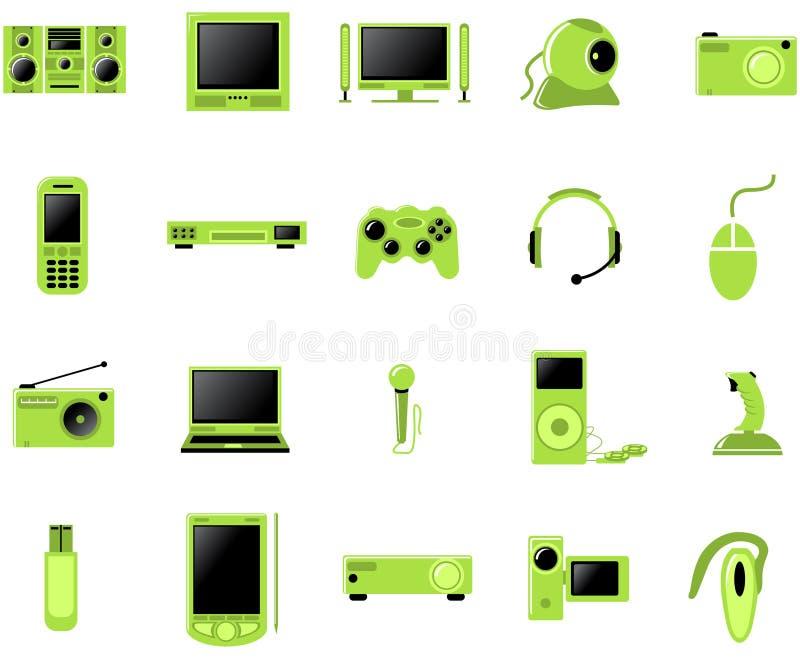 Conjunto del icono de los multimedia stock de ilustración
