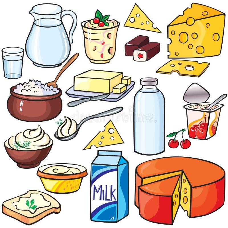 Conjunto del icono de los productos lácteos ilustración del vector