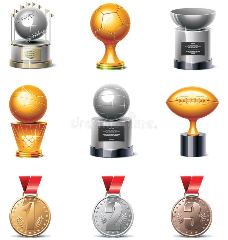 Conjunto del icono de los trofeos y de las medallas del deporte del vector stock de ilustración