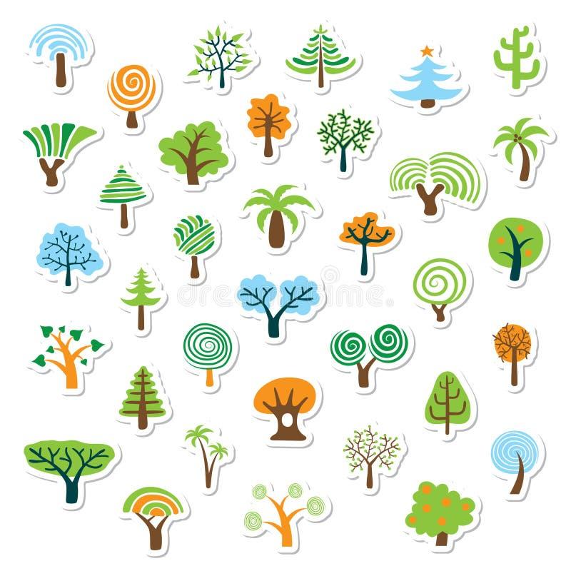 Conjunto del icono del árbol ilustración del vector