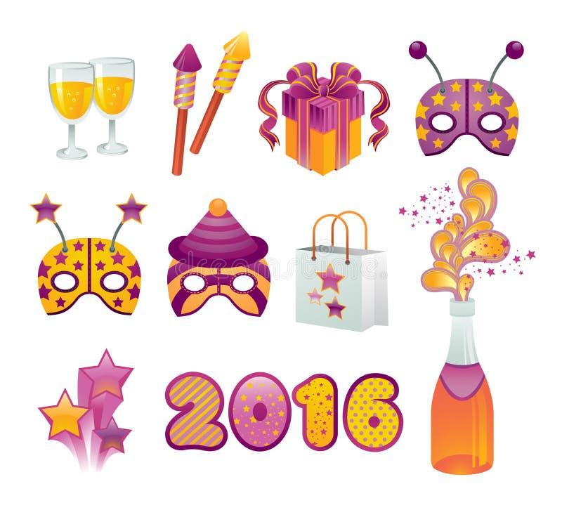 Conjunto del icono del Año Nuevo libre illustration