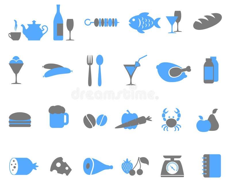 Conjunto del icono del alimento. stock de ilustración