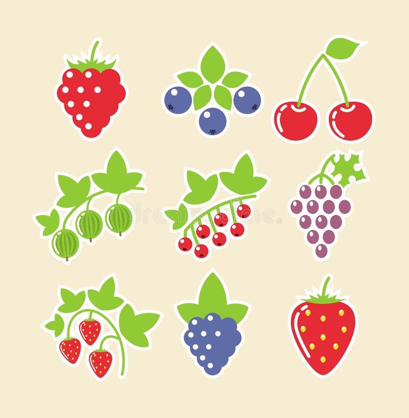 Conjunto del icono del alimento de la baya ilustración del vector