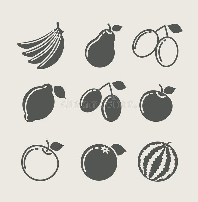 Conjunto del icono del alimento de la fruta stock de ilustración