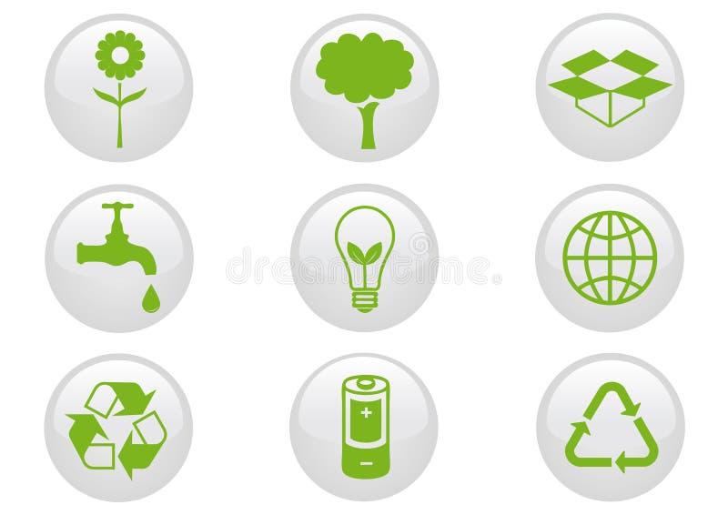 Conjunto del icono del ambiente. stock de ilustración