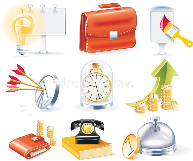 Conjunto del icono del asunto del vector stock de ilustración