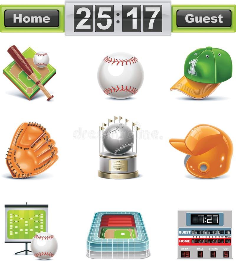 Conjunto del icono del béisbol/del beísbol con pelota blanda del vector libre illustration