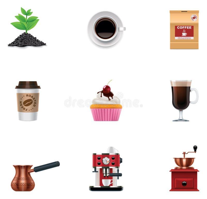 Conjunto del icono del café del vector ilustración del vector