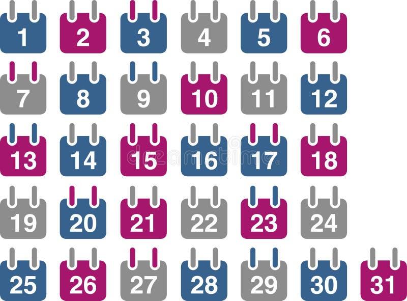 Conjunto del icono del calendario ilustración del vector