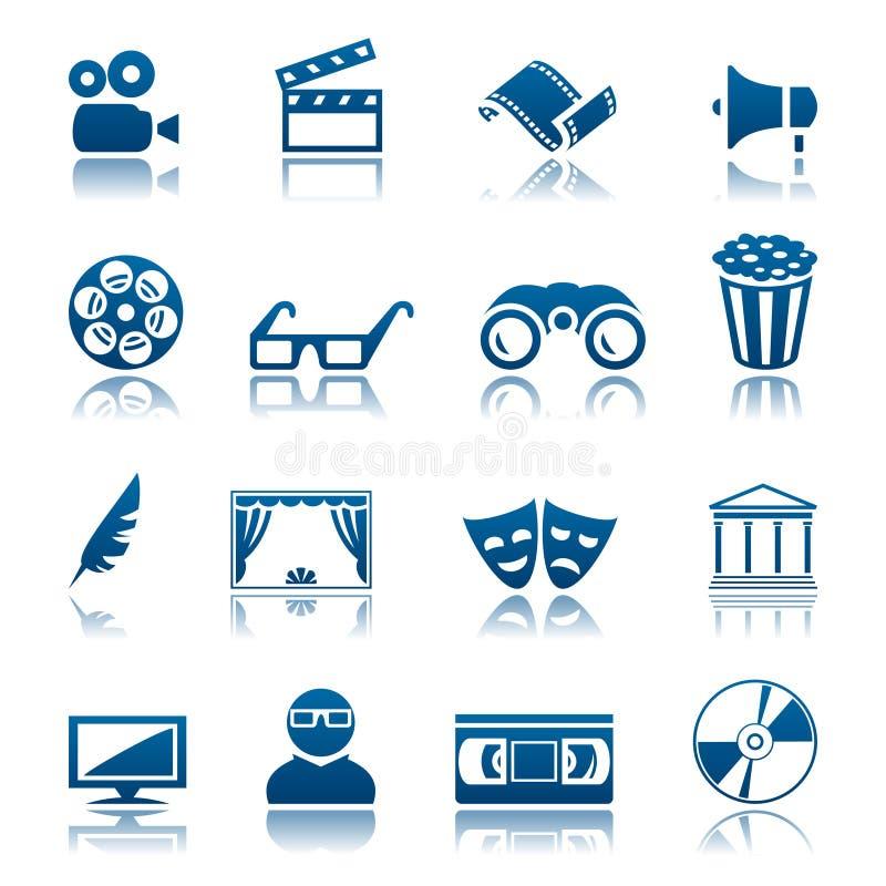 Conjunto del icono del cine y del teatro stock de ilustración