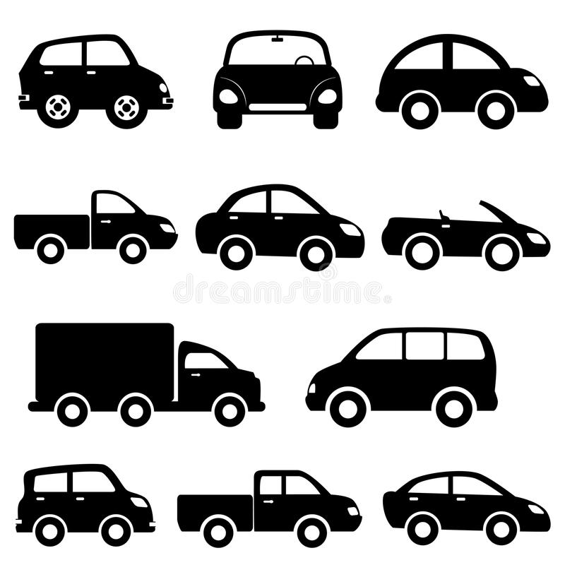 Conjunto del icono del coche y del carro ilustración del vector
