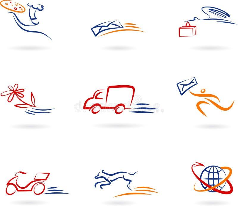 Conjunto del icono del concepto de la salida y del transporte ilustración del vector