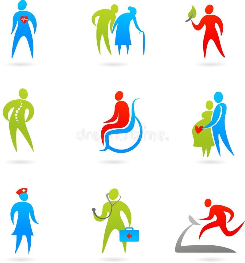 Conjunto del icono del cuidado médico stock de ilustración