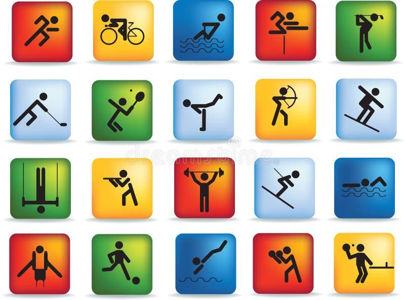 Conjunto del icono del deporte ilustración del vector