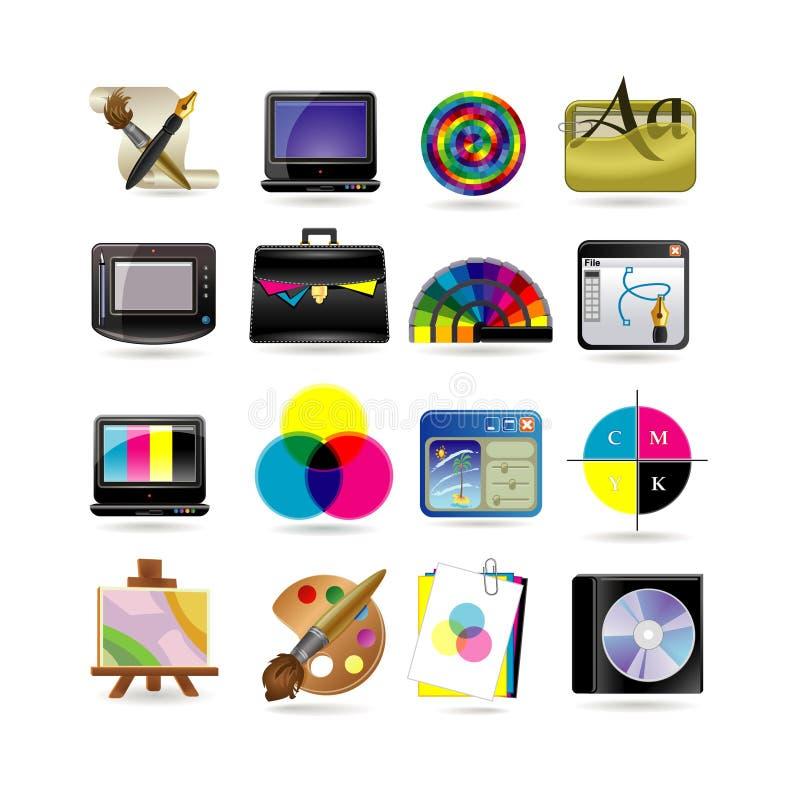 Conjunto del icono del diseño gráfico libre illustration