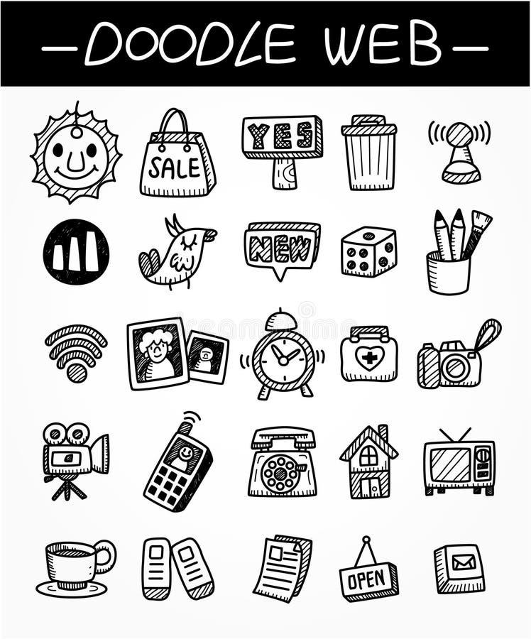 Conjunto del icono del doodle del Web ilustración del vector
