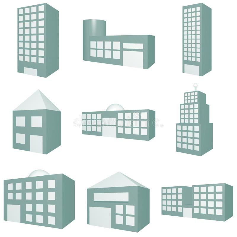 Conjunto del icono del edificio stock de ilustración