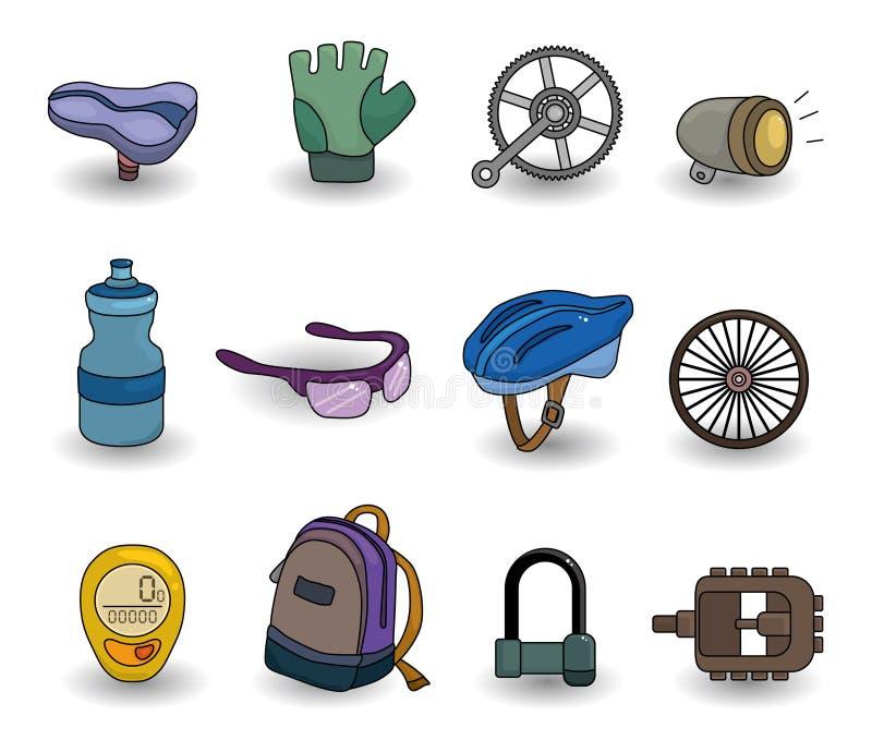 Conjunto del icono del equipo de la bicicleta de la historieta ilustración del vector