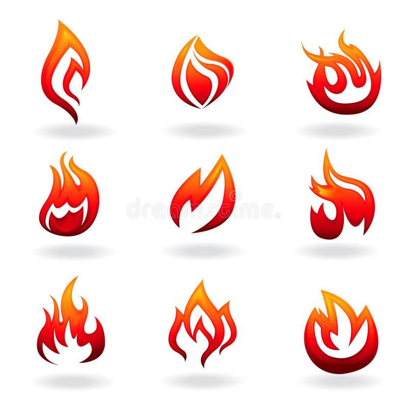 Conjunto del icono del fuego stock de ilustración