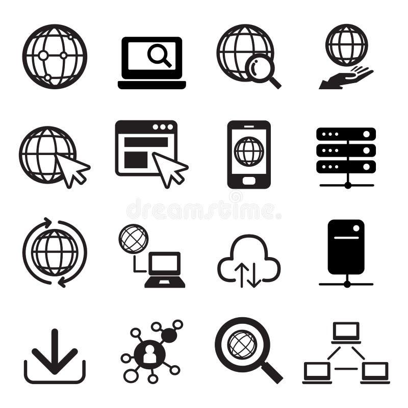 Conjunto del icono del Internet stock de ilustración