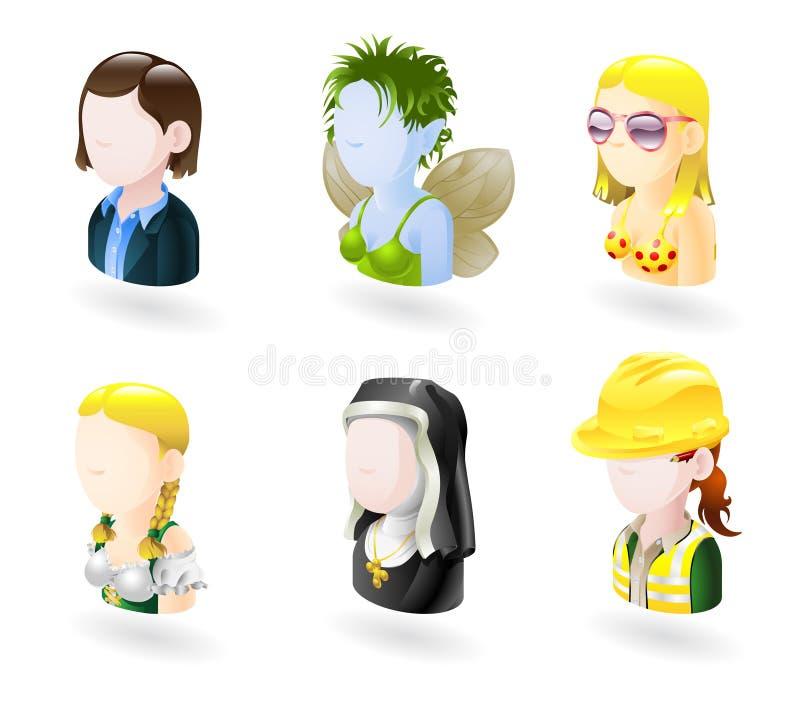 Conjunto del icono del Internet de la gente del avatar stock de ilustración