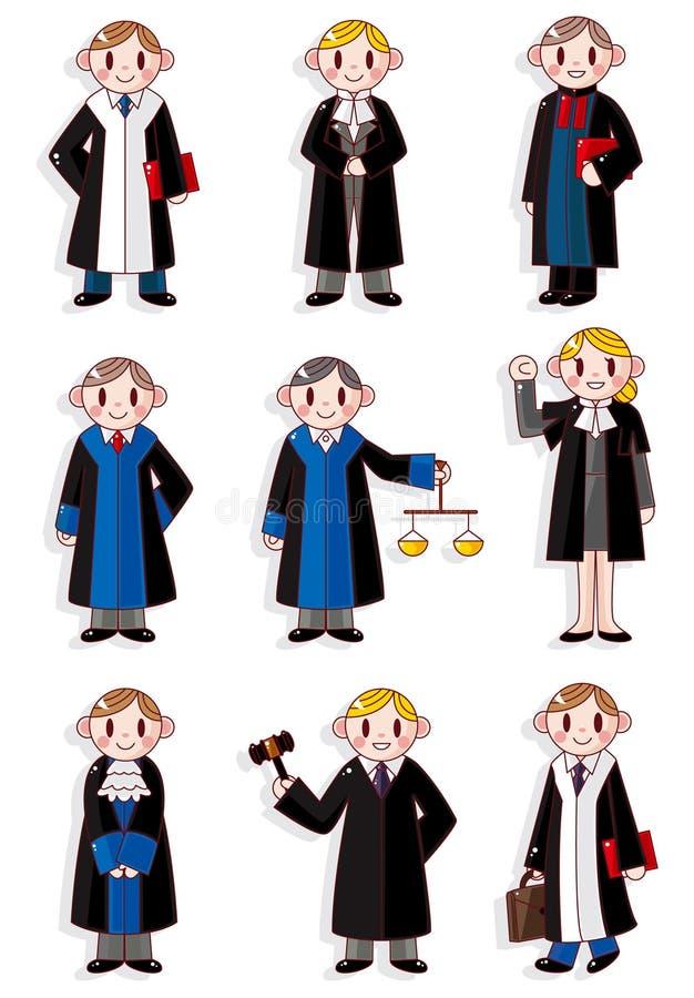 Conjunto del icono del juez de la historieta ilustración del vector