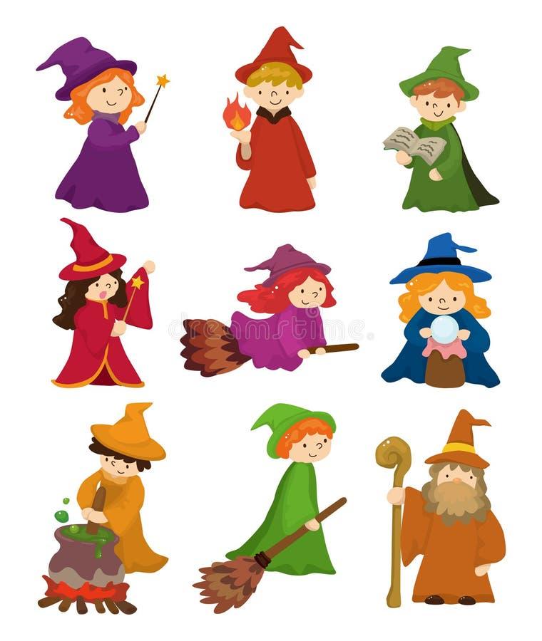 Conjunto del icono del mago y de la bruja de la historieta stock de ilustración
