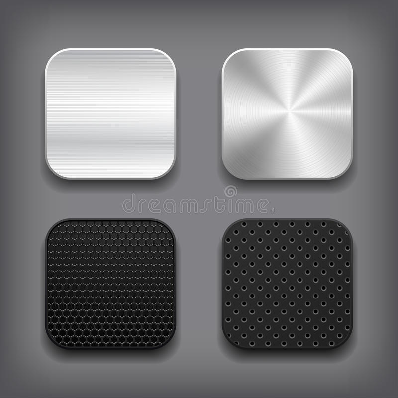 Conjunto del icono del metal de Apps. stock de ilustración