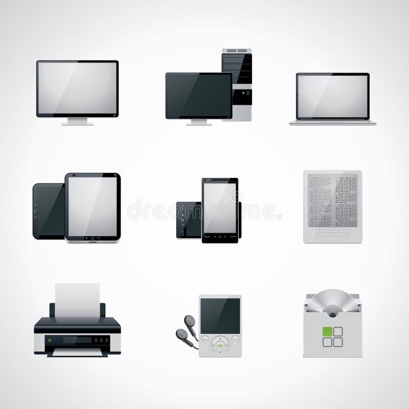 Conjunto del icono del ordenador de vector ilustración del vector