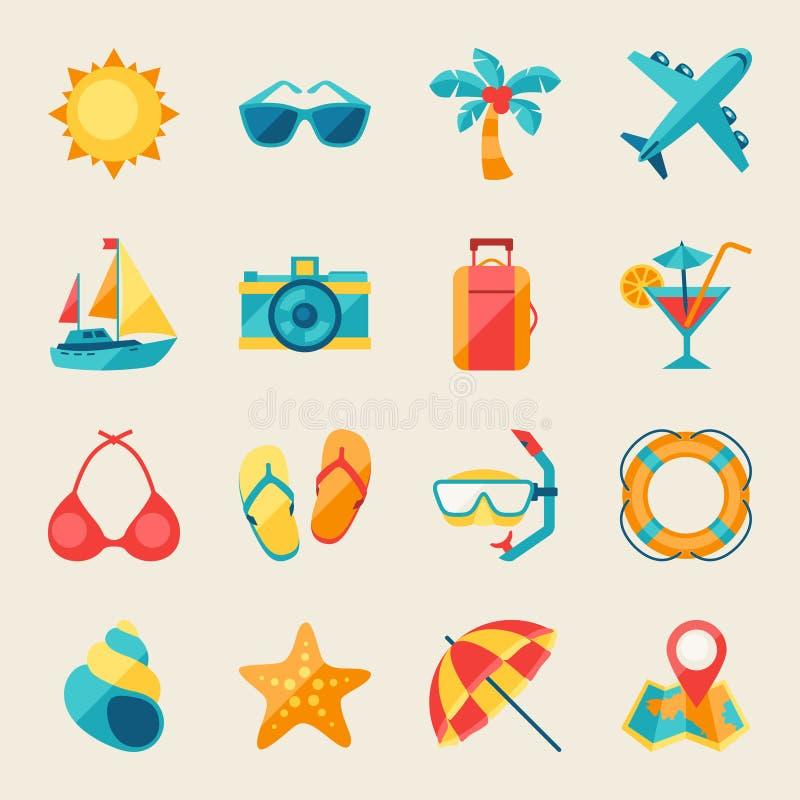 Conjunto del icono del recorrido y del turismo ilustración del vector