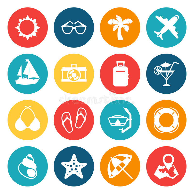 Conjunto del icono del recorrido y del turismo libre illustration