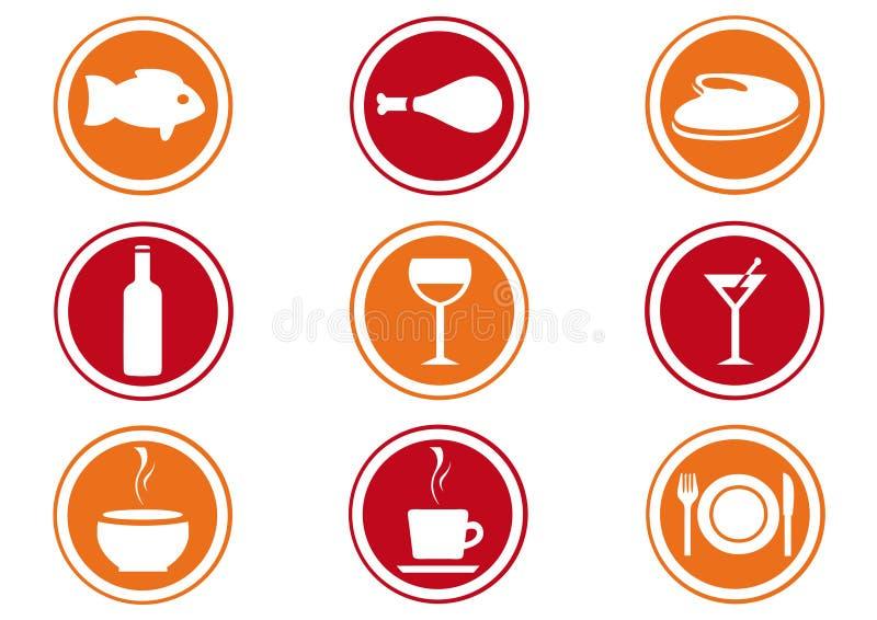 Conjunto del icono del restaurante. stock de ilustración