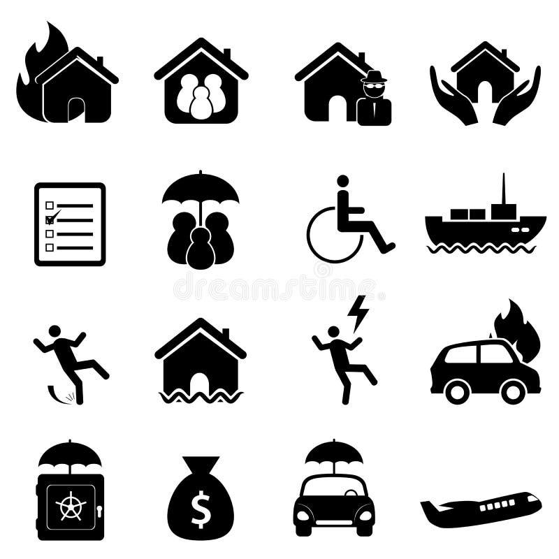 Conjunto del icono del seguro ilustración del vector