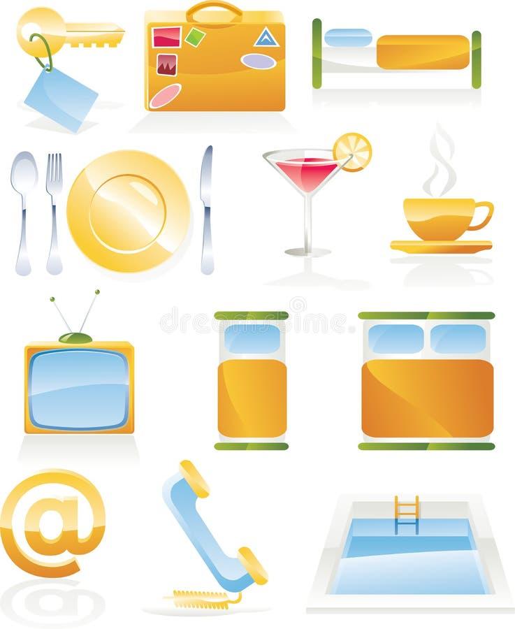 Conjunto del icono del servicio de hotel del vector stock de ilustración