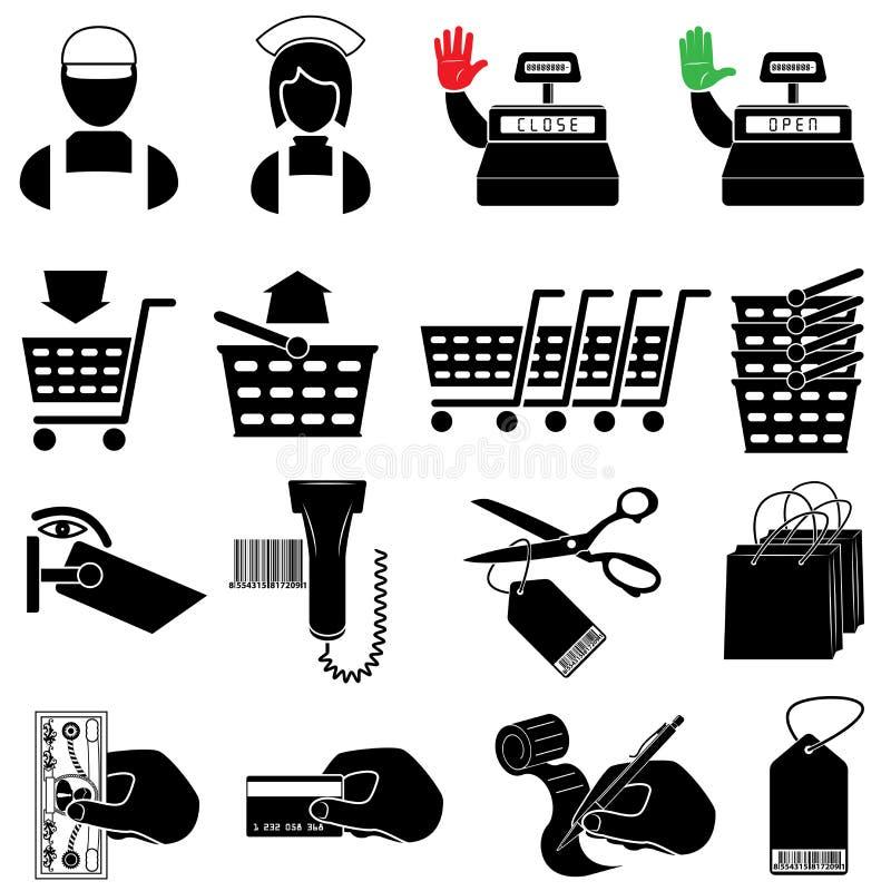 Conjunto del icono del supermercado stock de ilustración
