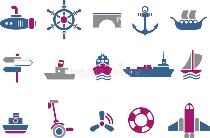 Conjunto del icono del transporte stock de ilustración