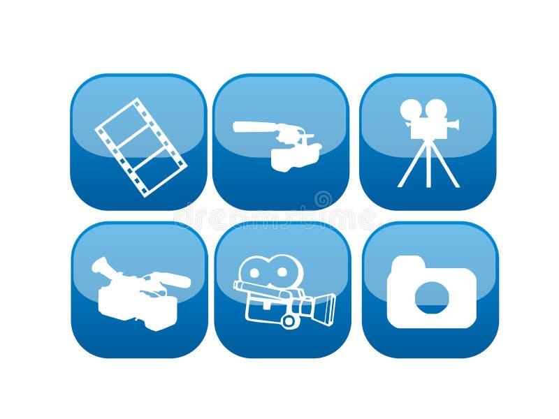 Conjunto del icono del vídeo y de la película del Web stock de ilustración