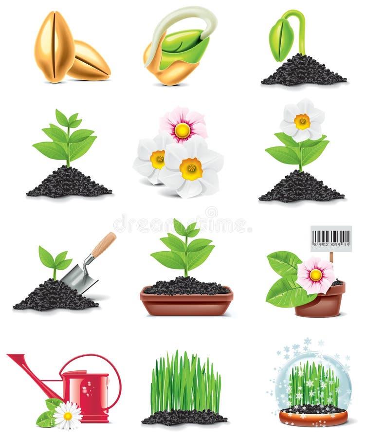Conjunto del icono del vector que cultiva un huerto ilustración del vector