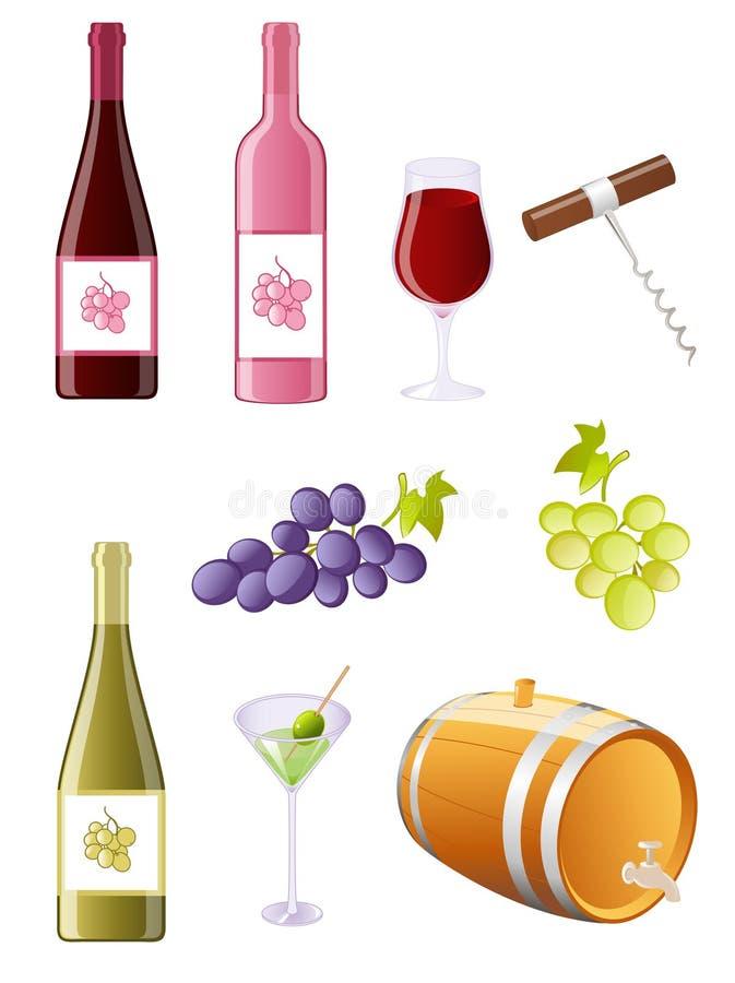 Conjunto del icono del vino y de las uvas stock de ilustración