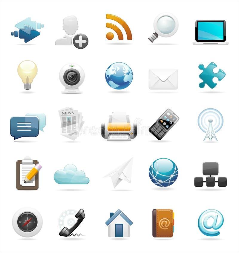 Conjunto del icono del Web y del Internet ilustración del vector