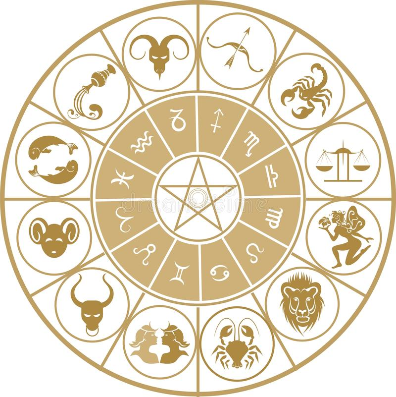 Conjunto del icono del zodiaco fotos de archivo