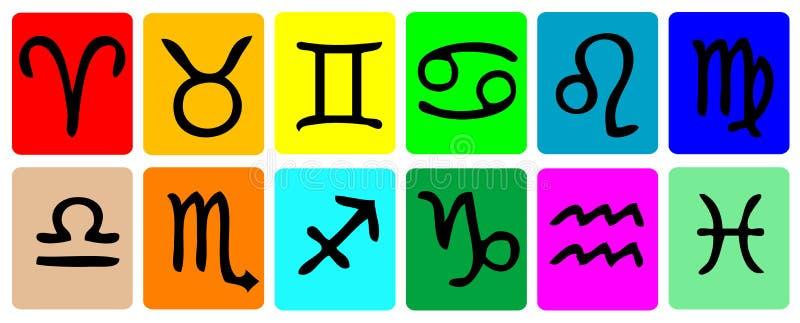 Sistema del icono del zodiaco imagenes de archivo