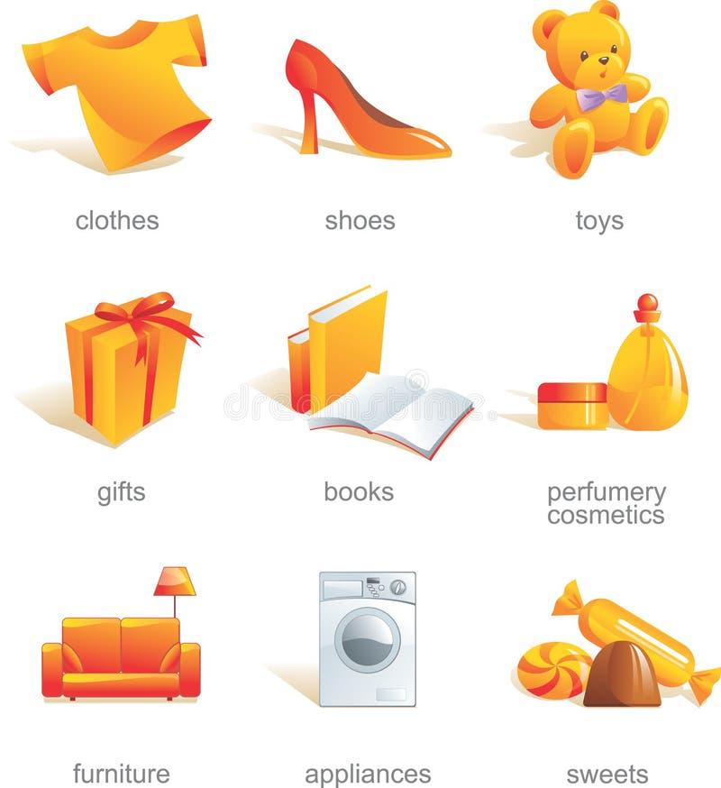 Conjunto del icono. Items de las compras   stock de ilustración