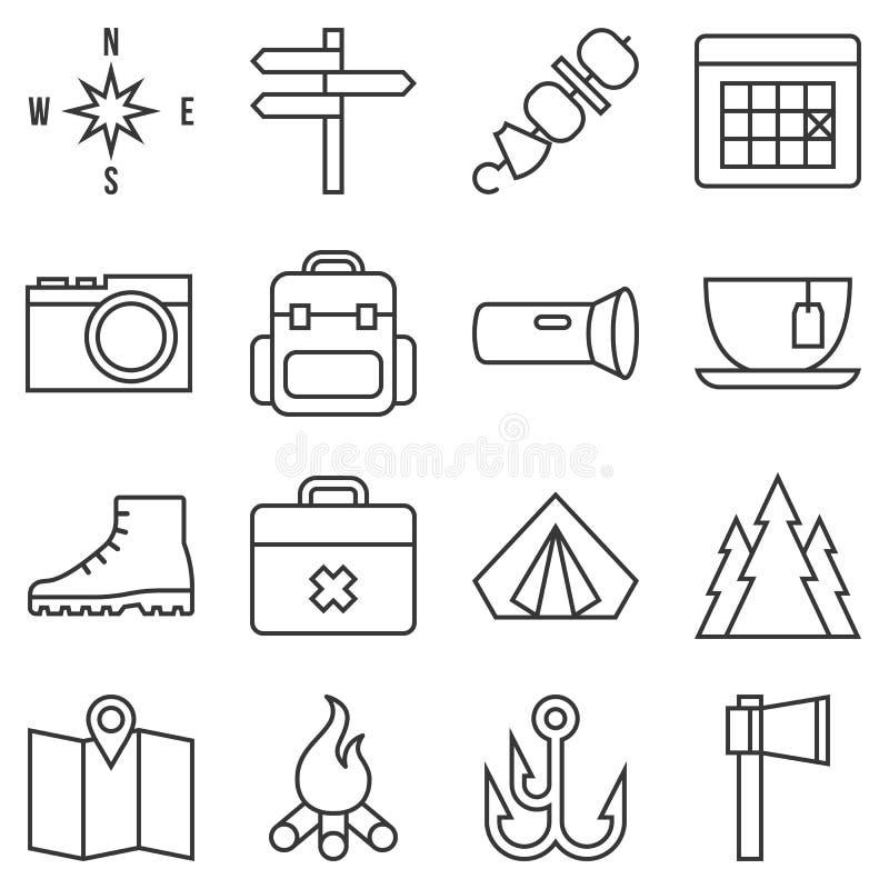 Conjunto del icono que acampa stock de ilustración
