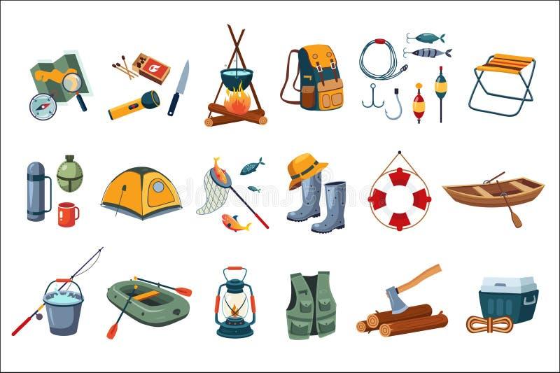 Conjunto del icono que acampa Equipo turístico, artículos para pescar Actividad al aire libre Reconstrucción del verano Diseño pl stock de ilustración