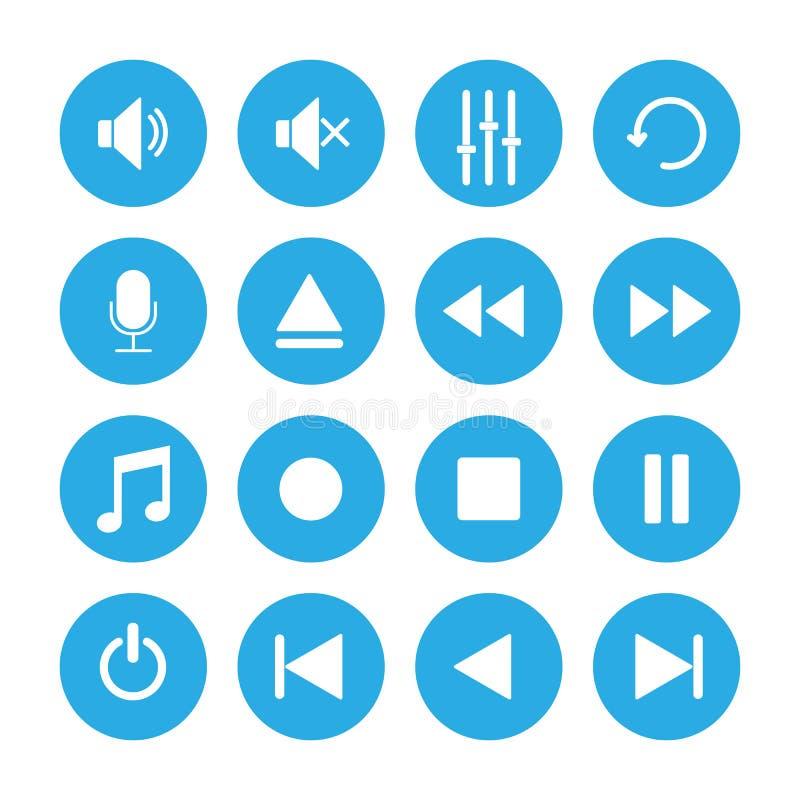 Conjunto del icono del reproductor multimedia Ejemplo del vector, diseño plano libre illustration