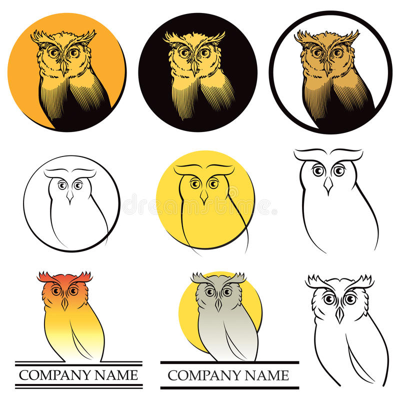 Conjunto del logotipo del búho ilustración del vector
