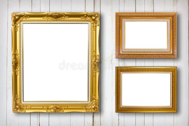 Conjunto del marco Galería de arte de la foto en el vintage de madera imágenes de archivo libres de regalías